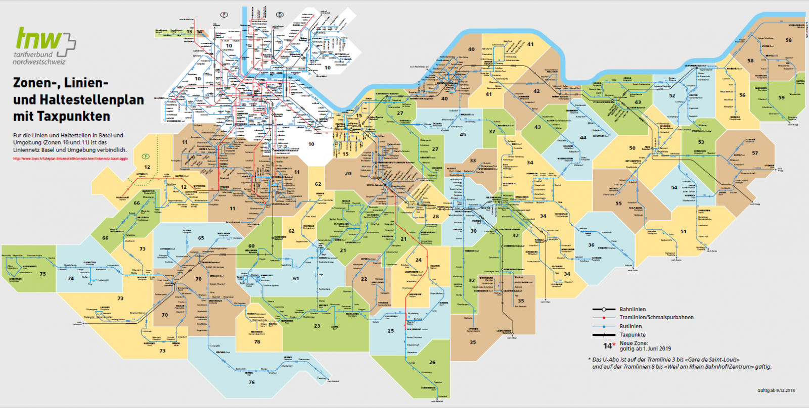 Detailed transport route map of the whole TNW area – Tarifverbund ...